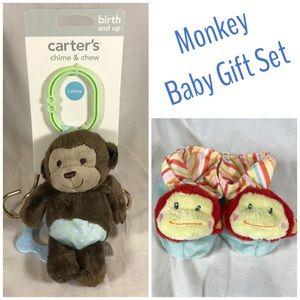 Monkey Baby Shower Gift Set Plush Booties Rattle